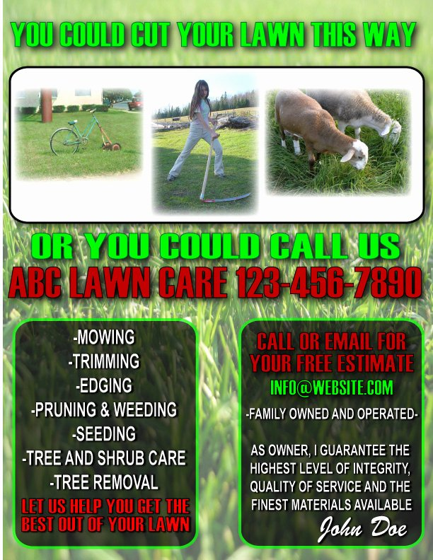 Lawn Mowing Flyer Template Awesome 9 Best Of Lawn Maintenance Flyers Lawn Care Flyer