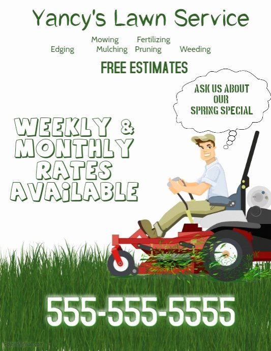 Lawn Mowing Flyer Template Awesome Lawn Service Flyer Template