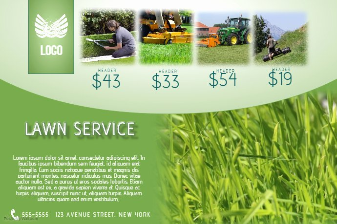 Lawn Mowing Flyer Template Beautiful Lawn Service Flyer Template Landscape Green
