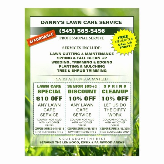 Lawn Mowing Flyer Template Best Of Lawn Care 8 5 X 11 Coupon Promotion Business Flyer