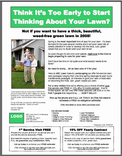 Lawn Mowing Flyer Template Best Of Lawn Care Flyer Template On Behance