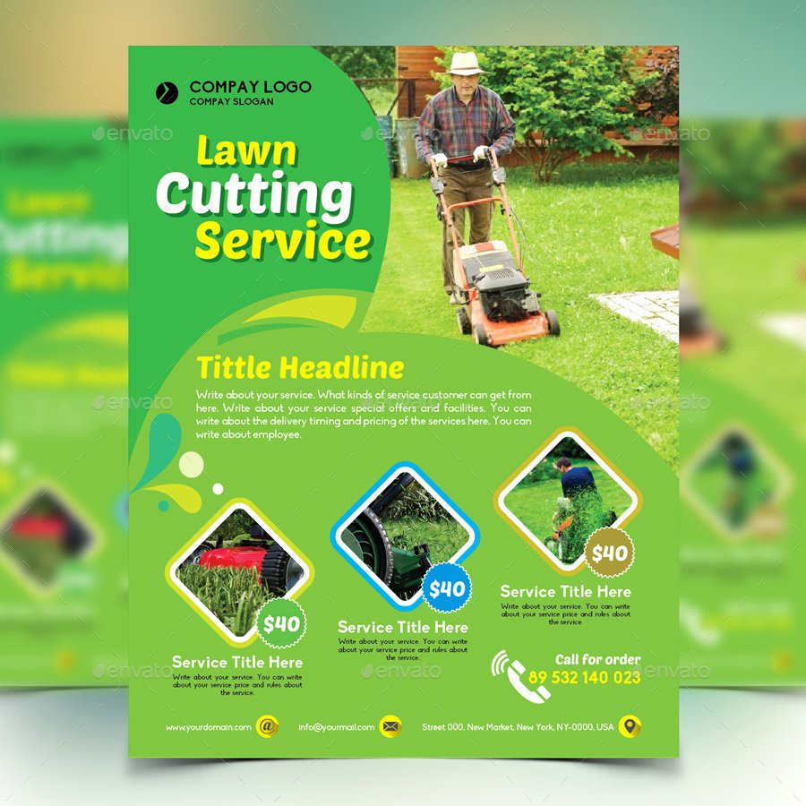 Lawn Mowing Flyer Template Inspirational Gardener Mowing Lawn Mower Flyer by Design Station