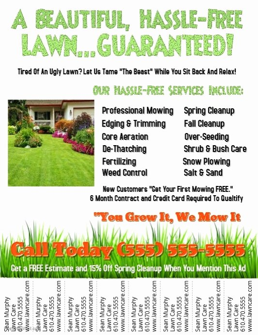Lawn Mowing Flyer Template Luxury Lawn Service Template