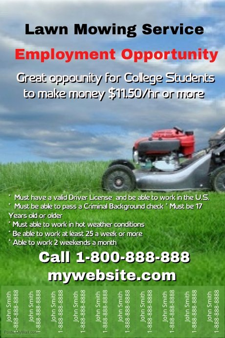 Lawn Mowing Flyer Template Unique Lawn Mowing Hiring Template