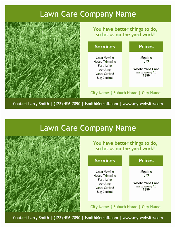 Lawn Service Flyer Template Best Of Lawn Care Flyer Template 2 Per Page by Vertex42