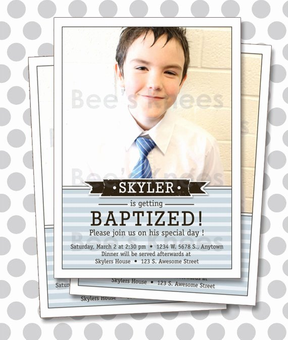 Lds Baptism Invitation Template Awesome Lds Baptism Invitation Boy Invite Digital by