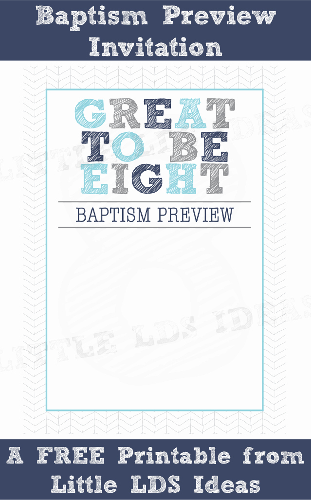Lds Baptism Invitation Template Awesome Lds Baptism Preview Invite and Treat Tags From