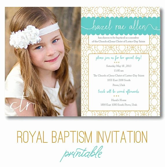"Lds Baptism Invitation Template Beautiful Lds Baptism Invitation ""royal"" Digital Printable"