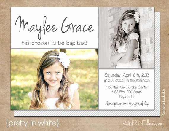Lds Baptism Invitation Template Unique Lds Baptism Invitation Modern Girl Baptism Invitation