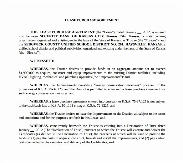 Lease Purchase Agreement Template Awesome 10 Lease Purchase Agreements