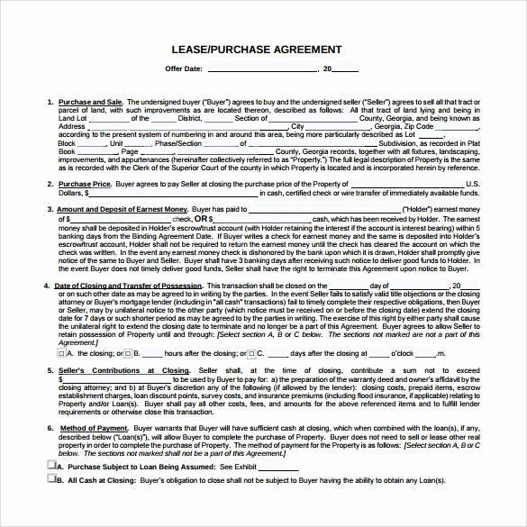Lease Purchase Agreement Template Best Of 10 Sample Lease Purchase Agreement Templates
