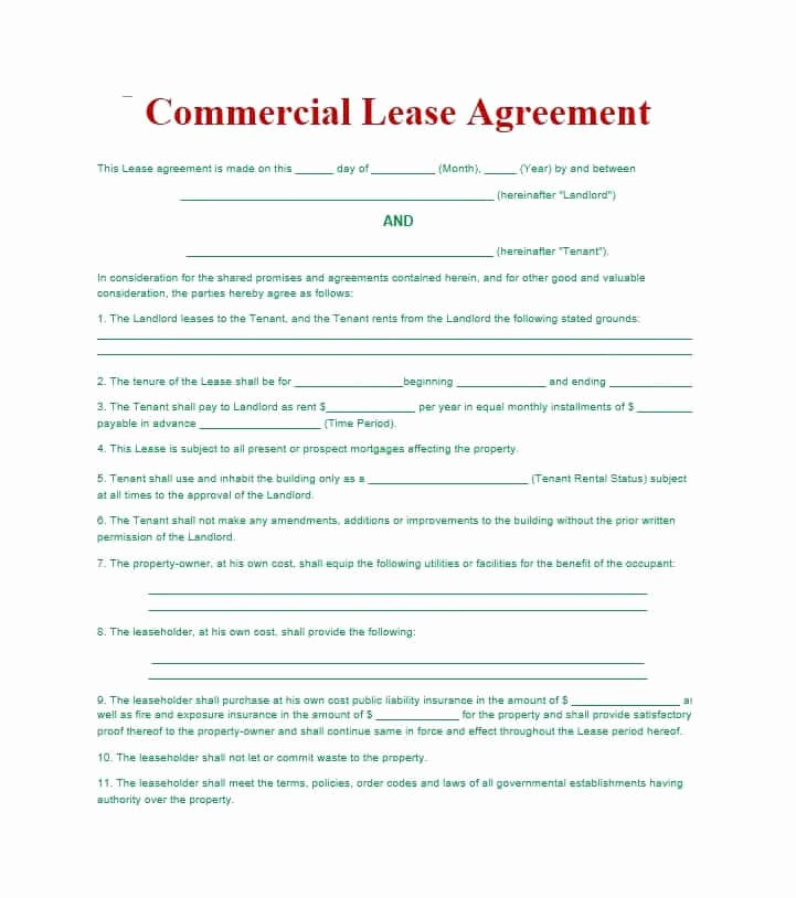 Lease Purchase Agreement Template Inspirational 26 Free Mercial Lease Agreement Templates Template Lab