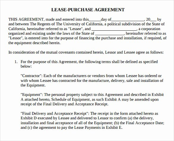 Lease Purchase Agreement Template Inspirational 8 Lease Purchase Agreement Template to Download