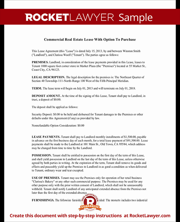 Lease Purchase Agreement Template Inspirational Mercial Real Estate Lease Agreement with Option to Purchase