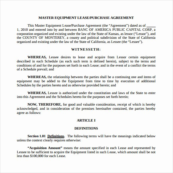 Lease Purchase Agreement Template Lovely 10 Lease Purchase Agreements
