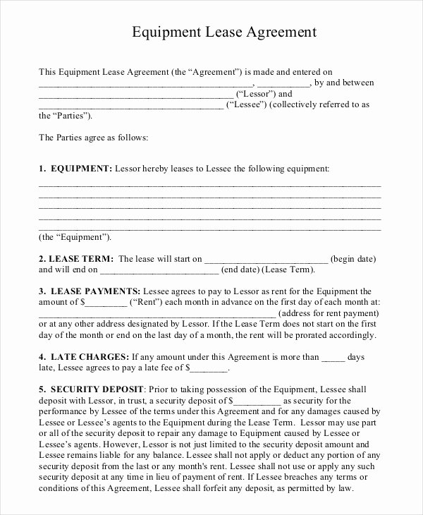 Lease Purchase Agreement Template Lovely 20 Equipment Rental Agreement Templates Doc Pdf