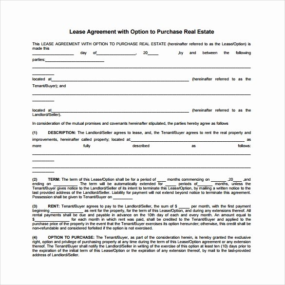 Lease Purchase Agreement Template New 10 Sample Lease Purchase Agreement Templates