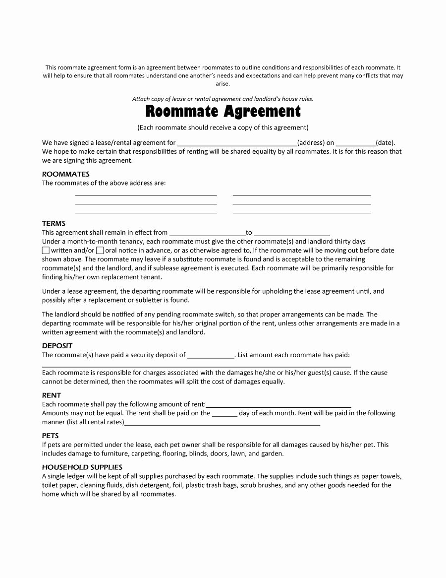 Lease Purchase Agreement Template New 40 Free Roommate Agreement Templates & forms Word Pdf
