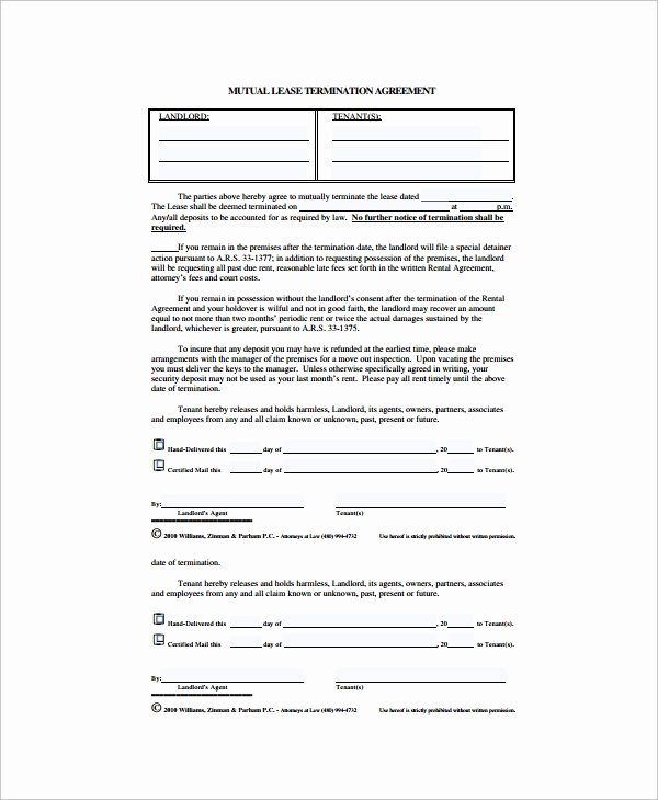 Lease Termination Agreement Template Awesome 11 Lease Termination Agreements