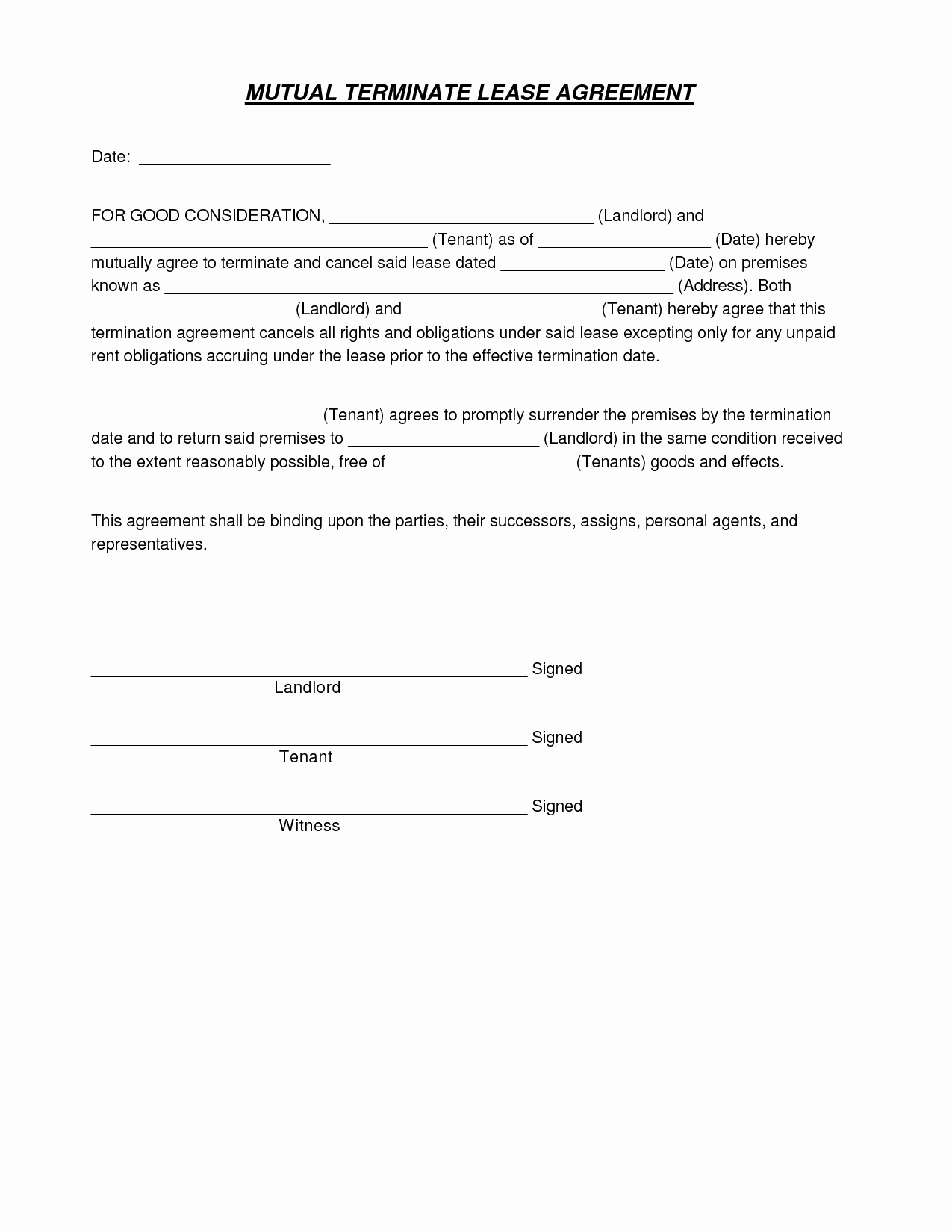Lease Termination Agreement Template Fresh Best S Of End Lease Agreement Template Lease