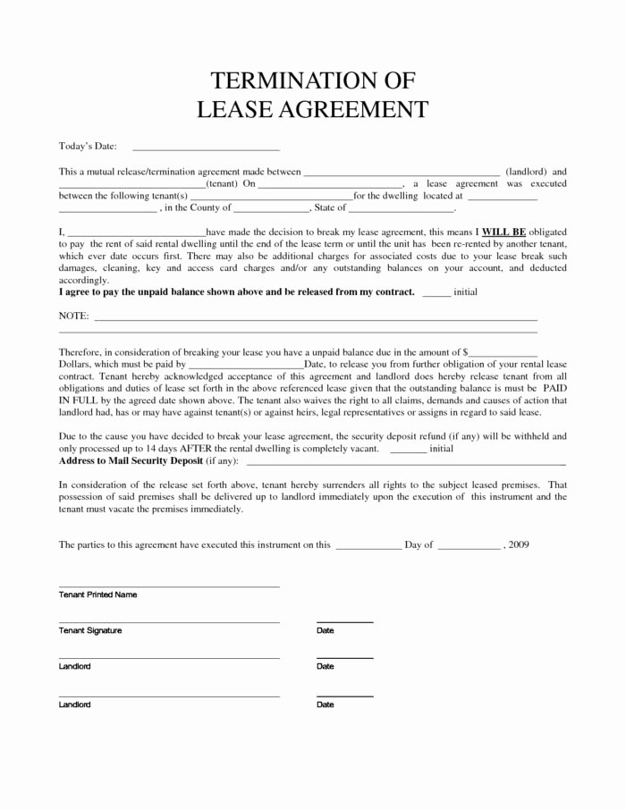 Lease Termination Agreement Template Lovely Lease Termination Agreement form Templates Resume