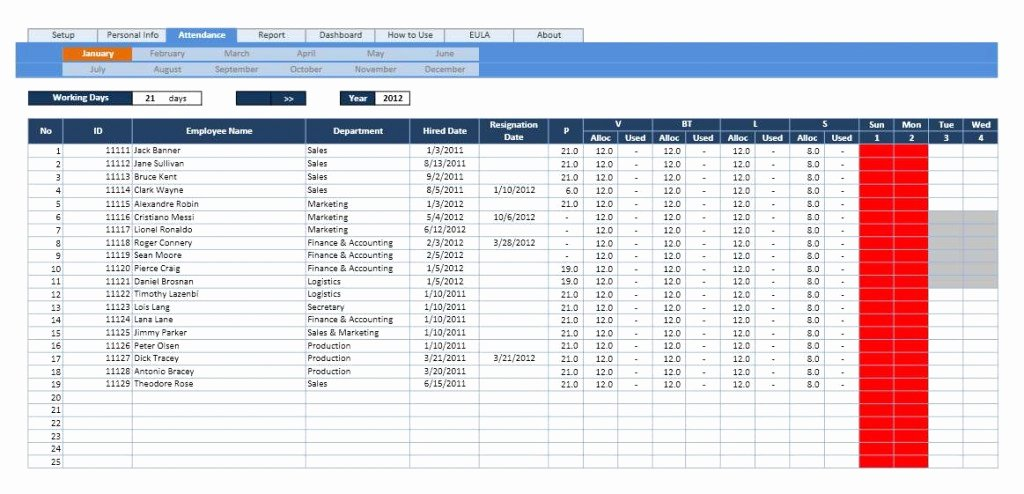 Leave Tracker Excel Template Best Of Employee attendance Calendar and Vacation Planner