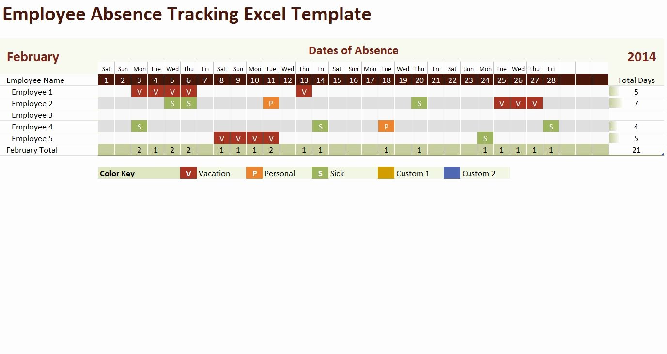Leave Tracker Excel Template Elegant 2014 Employee Absence Tracking Excel Template