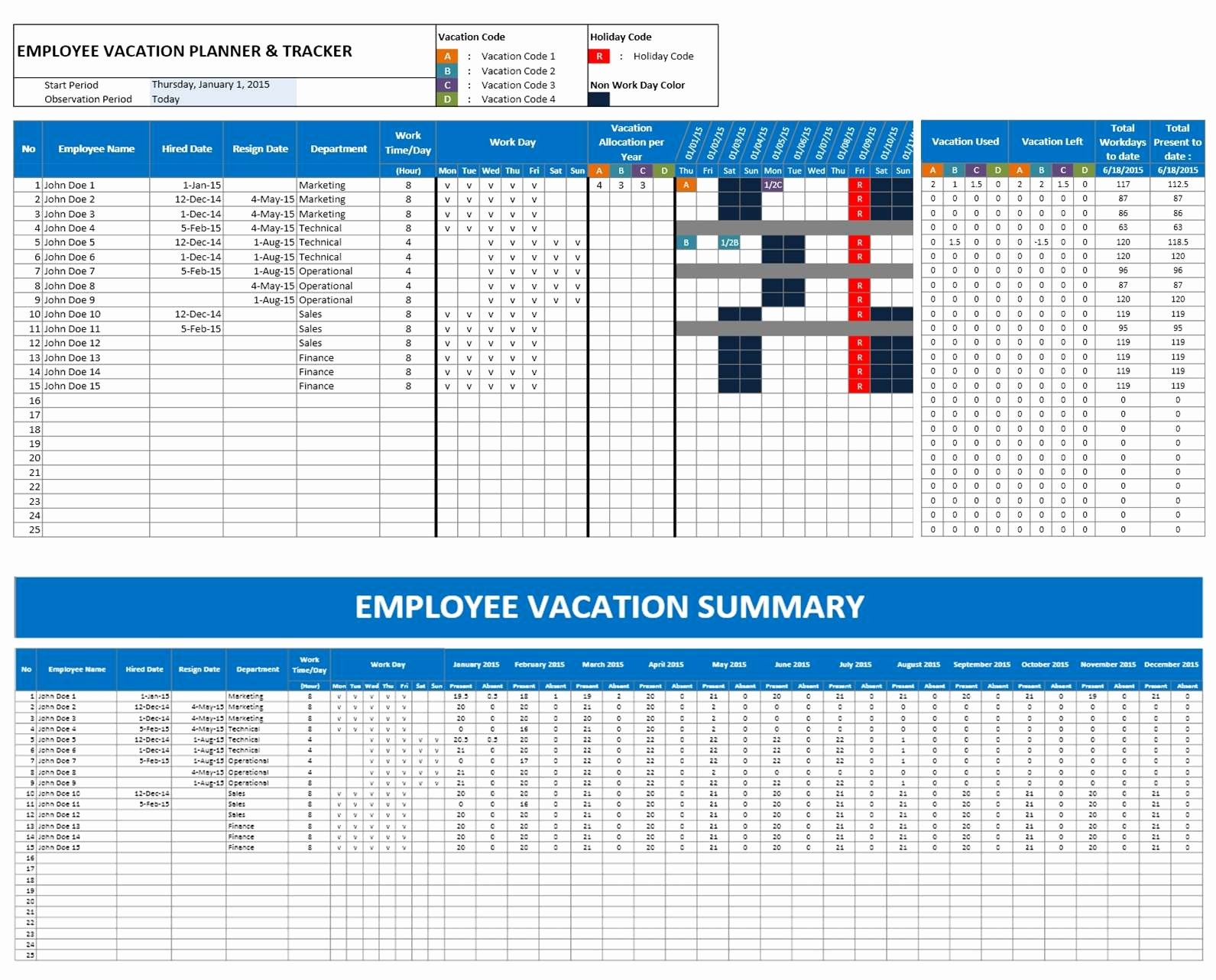 Leave Tracker Excel Template Luxury Employee Vacation Planner