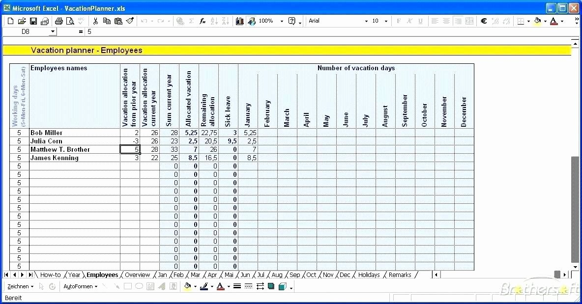 Leave Tracker Excel Template New Vacation Planner Template Excel Free Tracker Employee