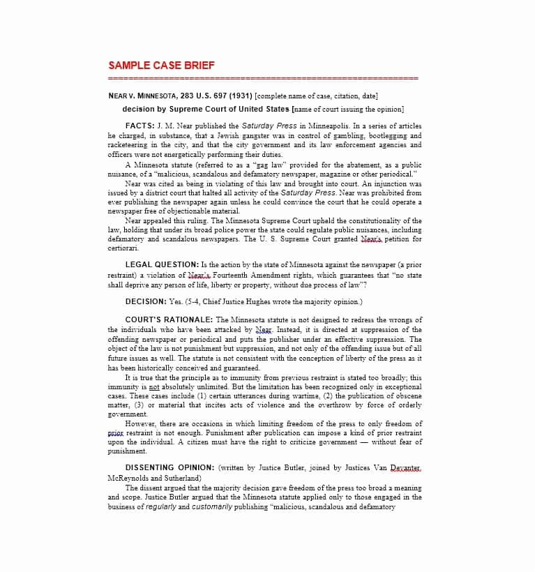 Legal Brief Template Word Elegant 40 Case Brief Examples & Templates Template Lab