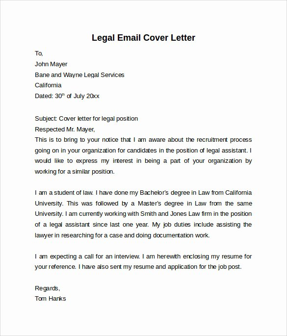 Legal Cover Letter Template Inspirational Email Cover Letter 7 Free Samples Examples & formats