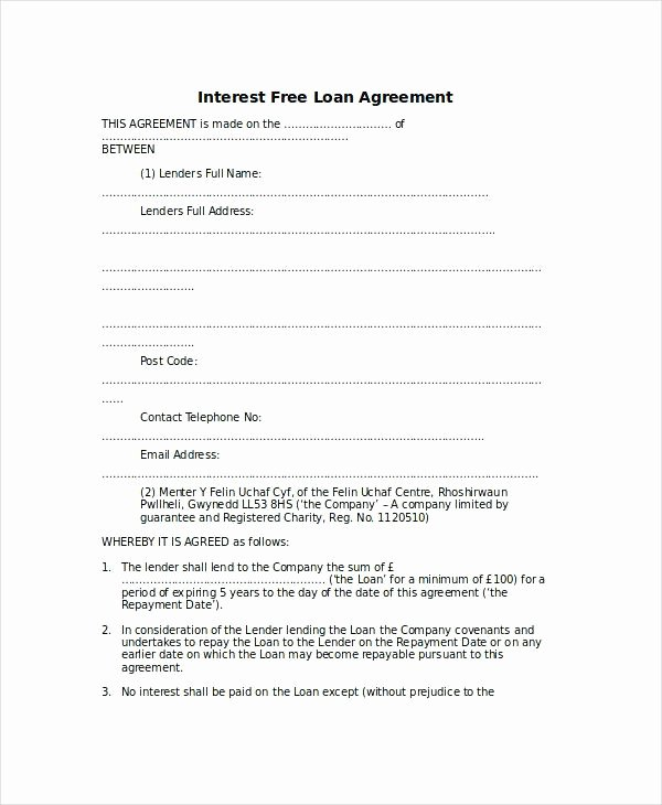 Legal Document Template Word Beautiful Interest Free Loan Agreement Template 9 Word Document