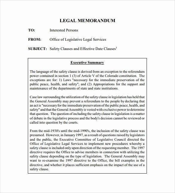 Legal Memorandum Template Word Unique Sample Legal Memo Template 11 Documents In Pdf Google