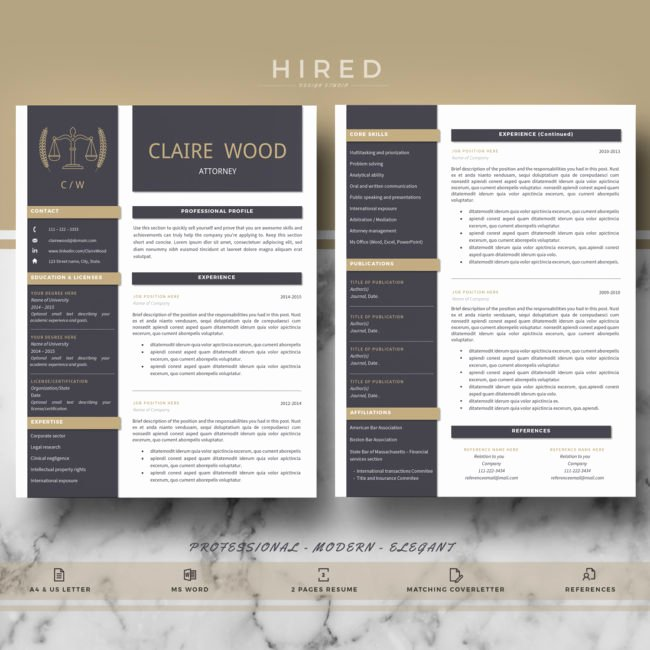"Legal Resume Template Word New ""claire"" Hired Design Studio"