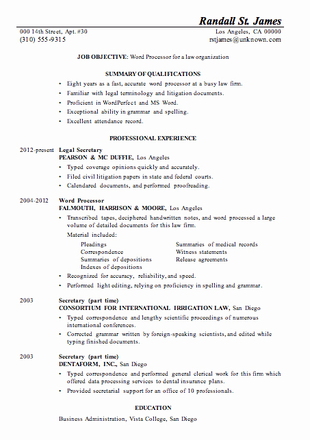 Legal Resume Template Word Unique Resume Sample Word Processor for Law Firsm