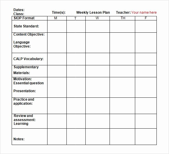 Lesson Plan Template Doc Elegant 9 Sample Weekly Lesson Plans