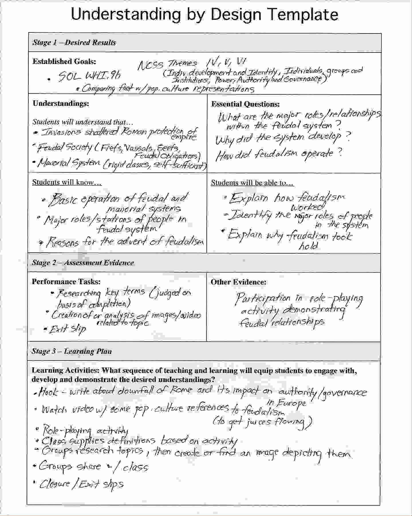 Lesson Plan Template Doc Lovely Understanding by Design Template