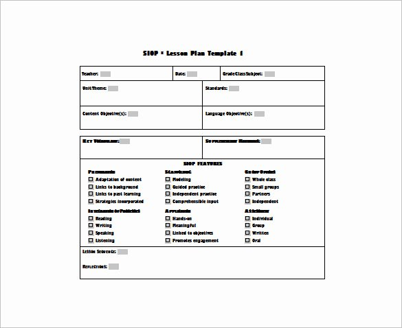 Lesson Plan Template Doc New 9 Siop Lesson Plan Templates Doc Excel Pdf