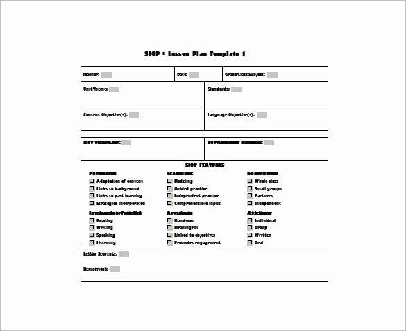 Lesson Plan Template Doc New 9 Siop Lesson Plan Templates Doc Excel Pdf