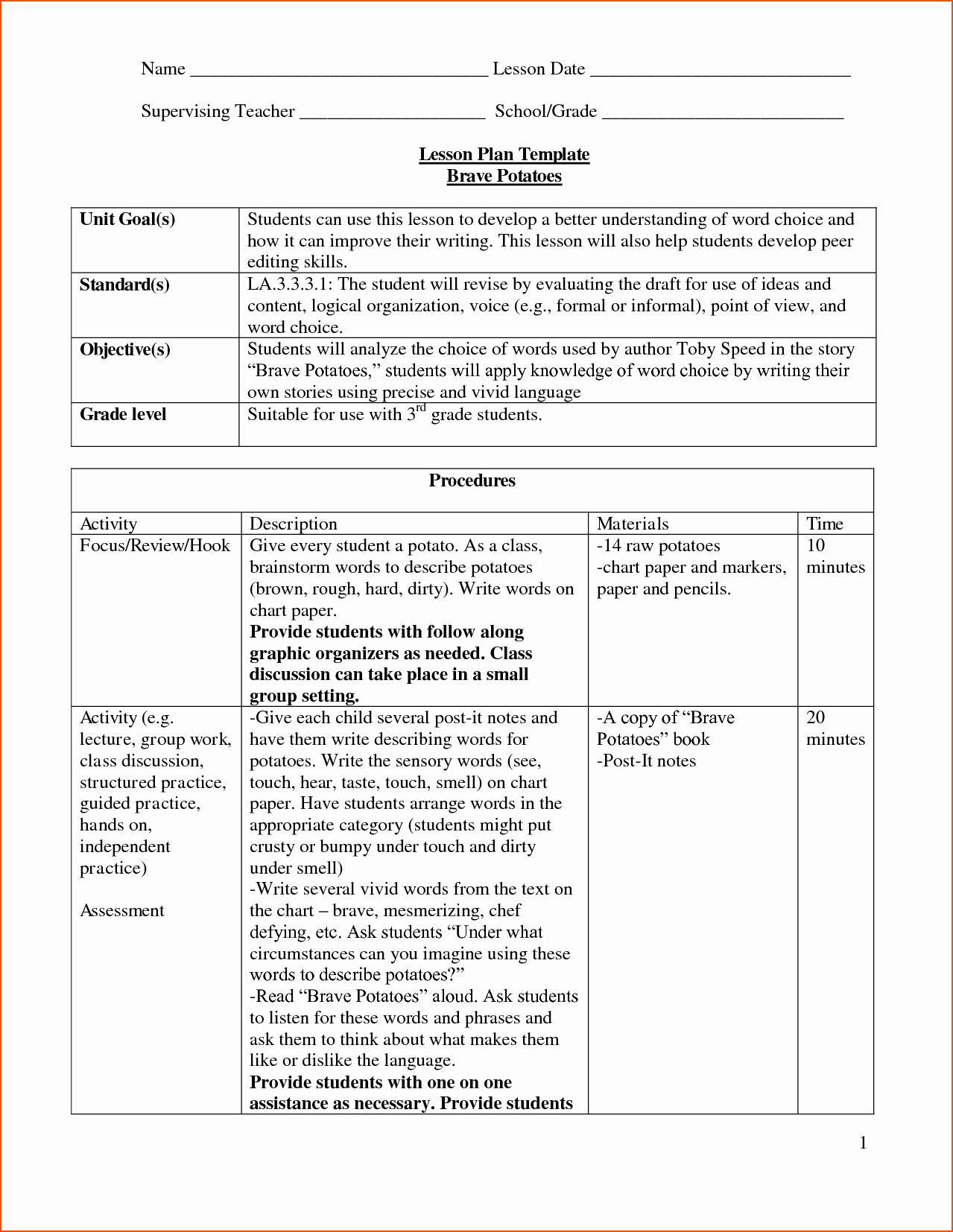 Lesson Plan Template Doc Unique 8 Lesson Plan Template Doc Bookletemplate