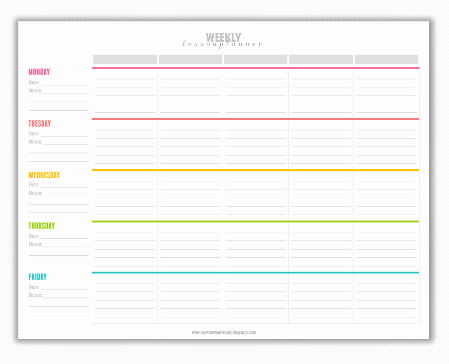 Lesson Plan Template Free Elegant My Strawberry Baby Free Printable Weekly Lesson Plan