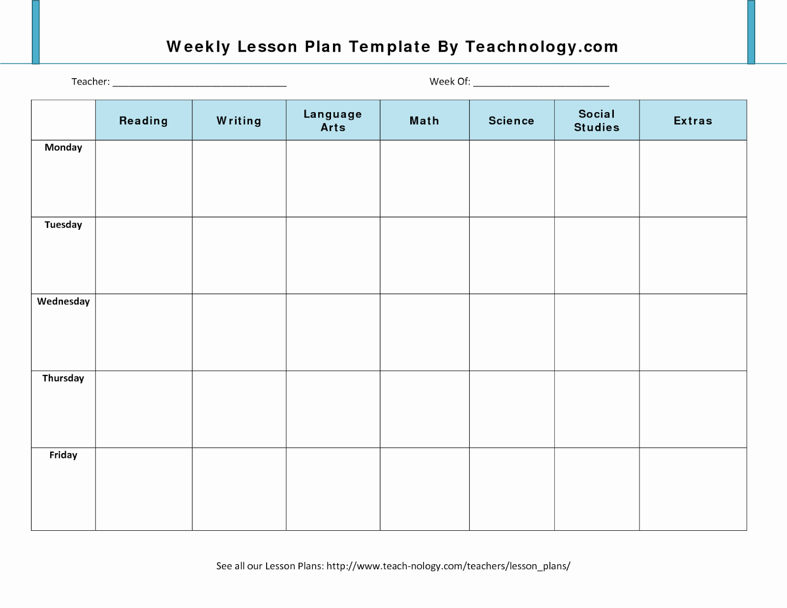Lesson Plan Template Free Lovely 7 Weekly Lesson Plan Template