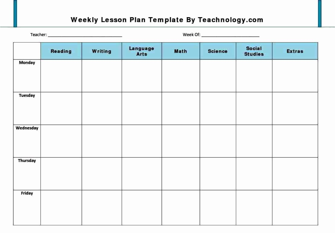 Lesson Plan Template Preschool Awesome Weekly Lesson Plan Template Pdf