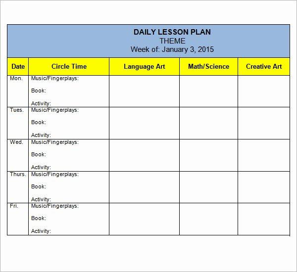 Lesson Plan Template Preschool Lovely 10 Sample Preschool Lesson Plan Templates