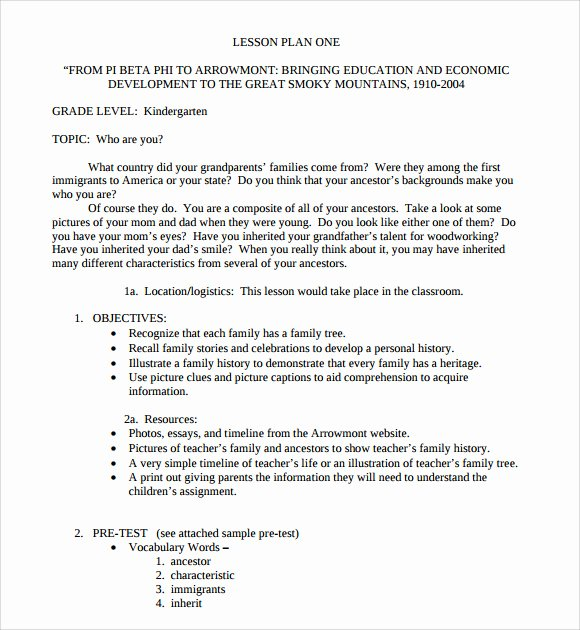 Lesson Plan Template Preschool Lovely 8 Kindergarten Lesson Plan Templates for Free Download