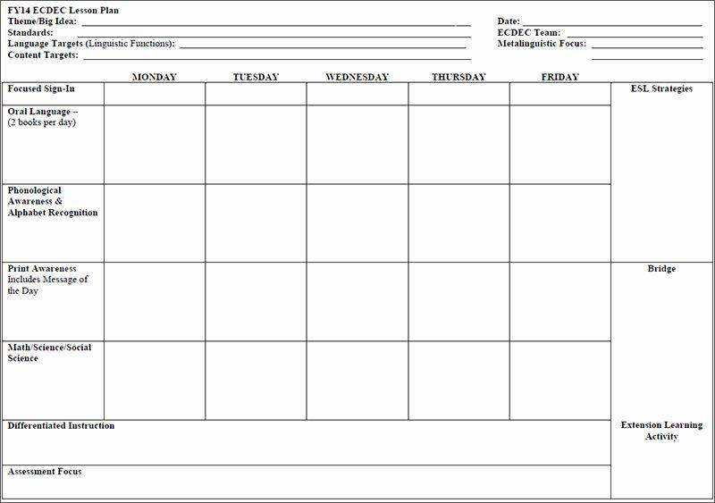 Lesson Plan Template Preschool Unique 7 Preschool Lesson Template Free Word Excel Pdf formats