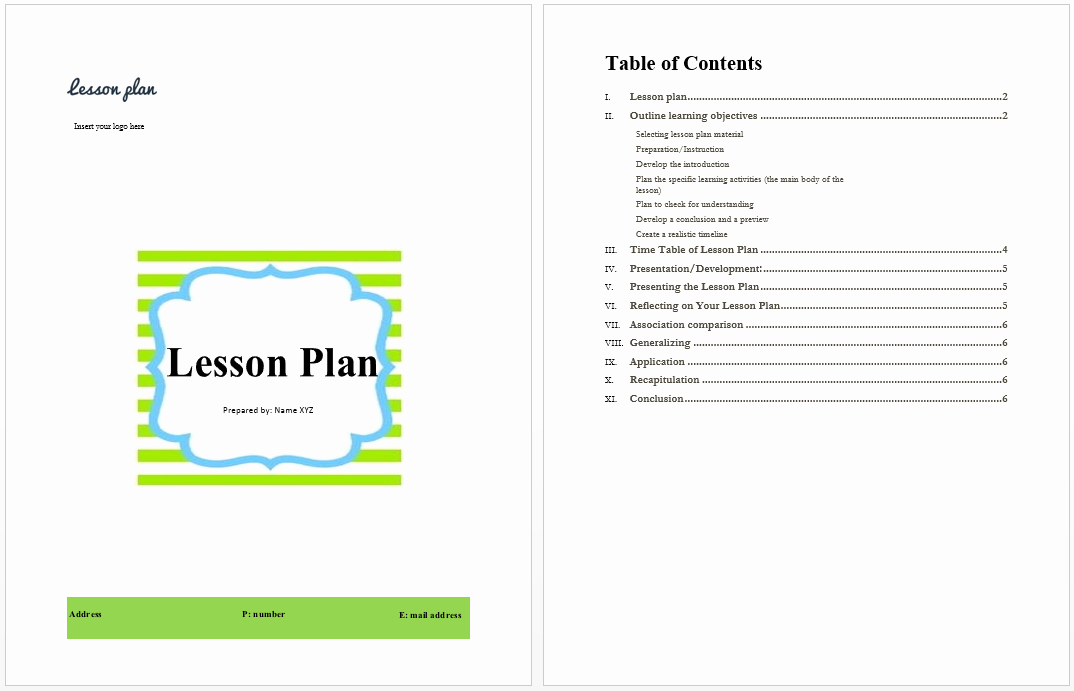 Lesson Plan Template Word Best Of Lesson Plan Template Microsoft Word Templates