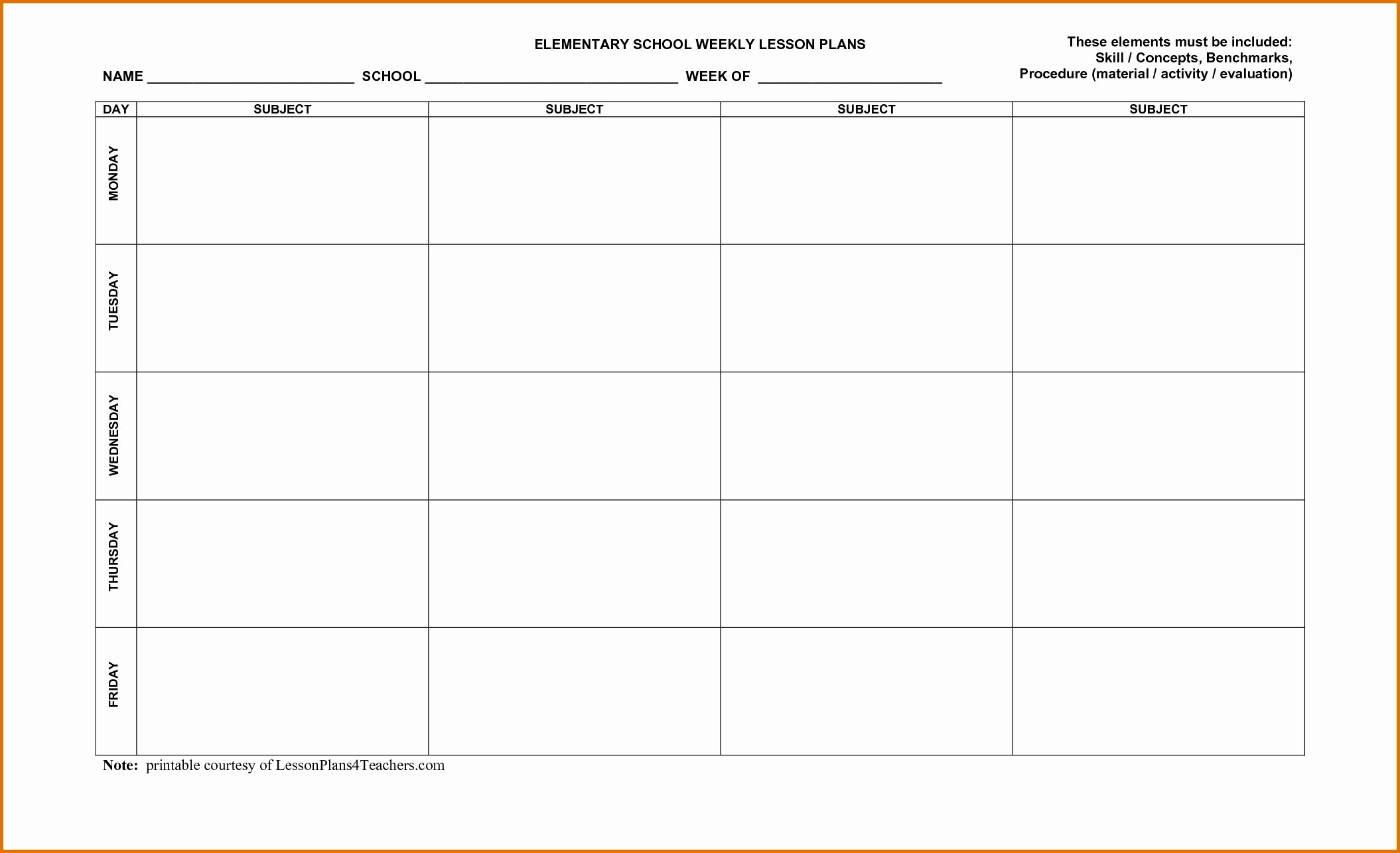 Lesson Plan Template Word New Lesson Plan Template Word