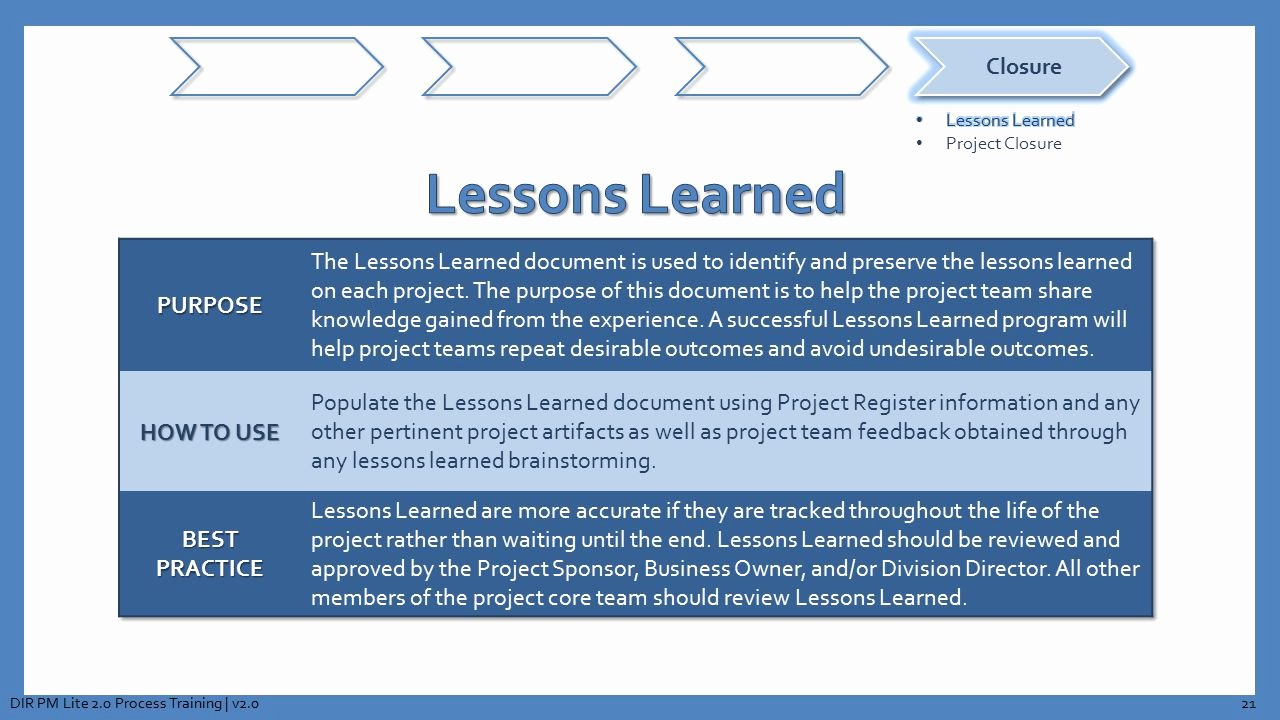 lessons learned template powerpoint
