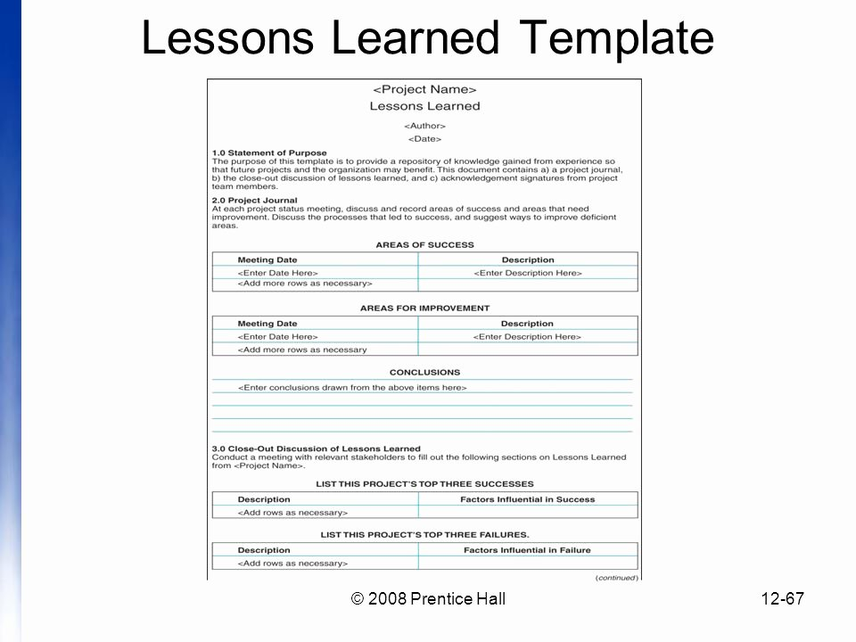 Lessons Learned Template Powerpoint Fresh Introduction to Project Management Chapter 12 Managing